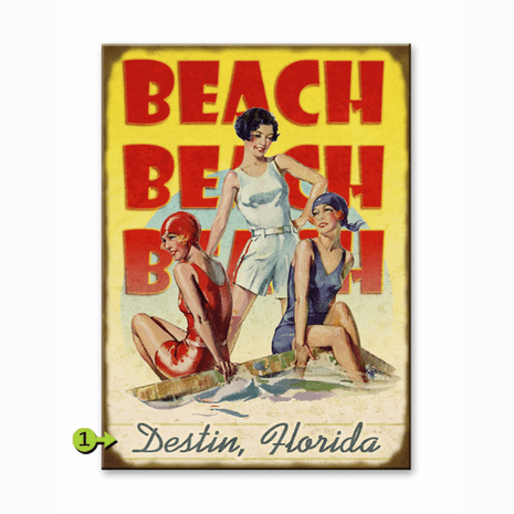 Beach Beach Beach Personalized Sign - 23 x 31