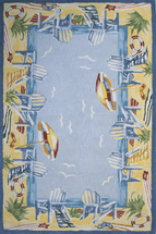 Beach Border Light Blue Hooked Rug - 3 x 5 - CLEARANCE