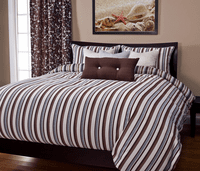 Beach Breeze Stripe Sand Duvet Set - Queen