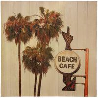 Beach Café Wood Slat Wall Art