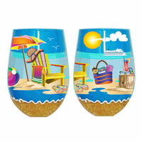 Beach Chair Stemless Wine Glasses - Set of 4