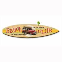 Beach Club Woody Surfboard Wood Personalized Sign - 12 x 44