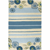 Beach Flowers & Stripes Indoor/Outdoor Rug Collection