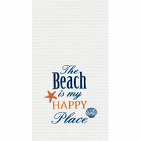 Beach Happy Place Waffle Weave Towels - Set of 6