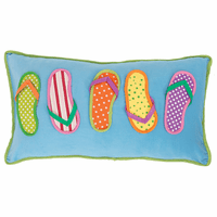 Beach Sandals Applique Pillow