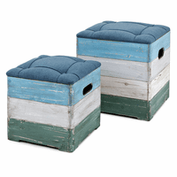 Distressed Coastal Crate Ottomans - Set of 2 - CLEARANCE