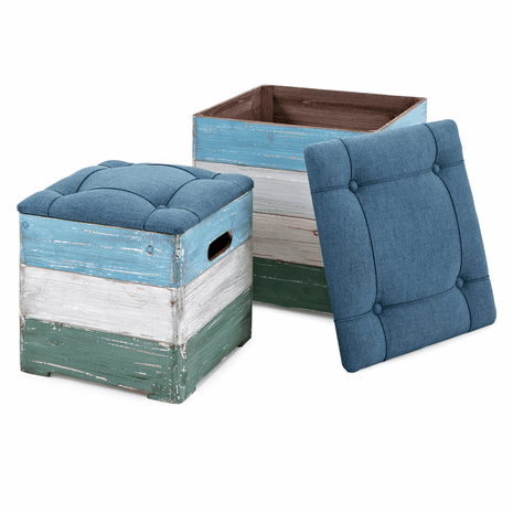 Beach Shack Crate Ottomans - Set of 2