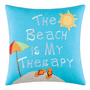 Beach Therapy Embroidered Pillow