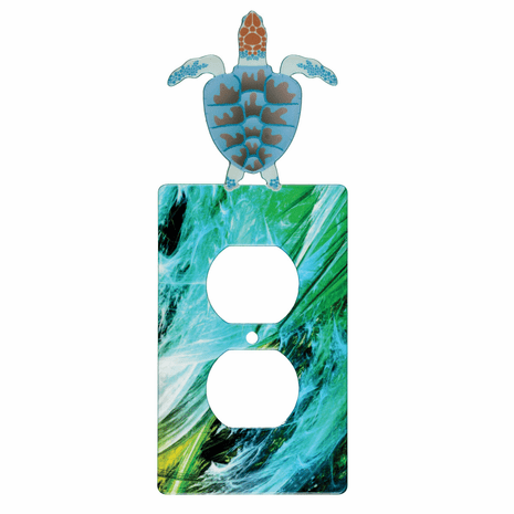 Beach Turtle Metal Outlet Cover