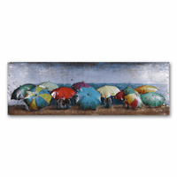 Beach Umbrellas Metal Wall Art