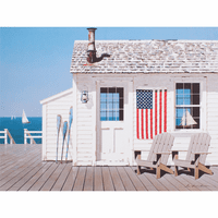 Beach View with Flag Canvas Art