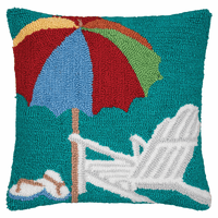 Beachside Umbrella Hooked Pillow