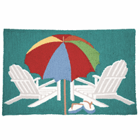 Beachside Umbrella Hooked Rug