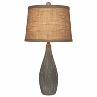 Beaded Vase Table Lamp with Textured Shade