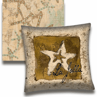 Beige Starfish Personalized Pillow - 18 x 18