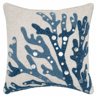 Bejeweled Blue Coral Tufted Pillow