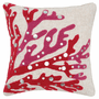 Bejeweled Red Coral Tufted Pillow