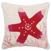 Bejeweled Red Starfish Tufted Pillow