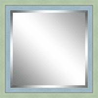 Beveled Green and Sky Blue Framed Mirror