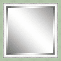 Beveled Green and White Framed Mirror