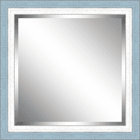 Beveled Sky Blue and White Framed Mirror