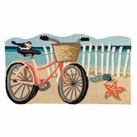 Bicycle on the Beach Hooked Rug