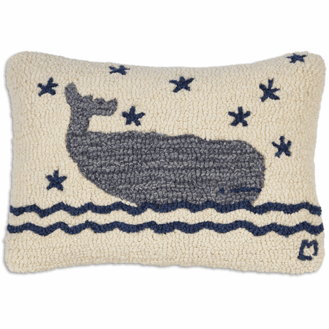 Big Blue Whale Hooked Wool Pillow - 18 x 18