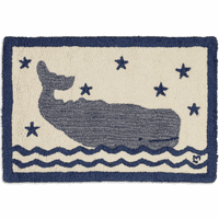 Big Blue Whale Hooked Wool Rug - 20 x 30