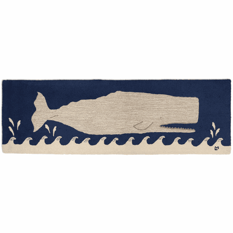 Big White Whale Hooked Wool Runner