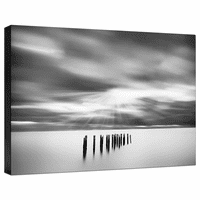 Black and White Old Pier Posts Gallery Wrapped Canvas