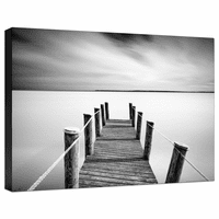 Black and White Pier Gallery Wrapped Canvas