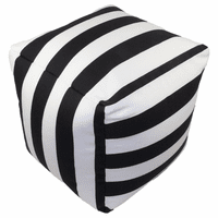 Black and White Stripes Indoor/Outdoor Square Pouf