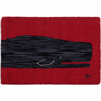 Black Whale Closeup Hooked Wool Accent Rug