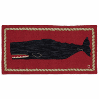 Black Whale Hooked Wool Accent Rug