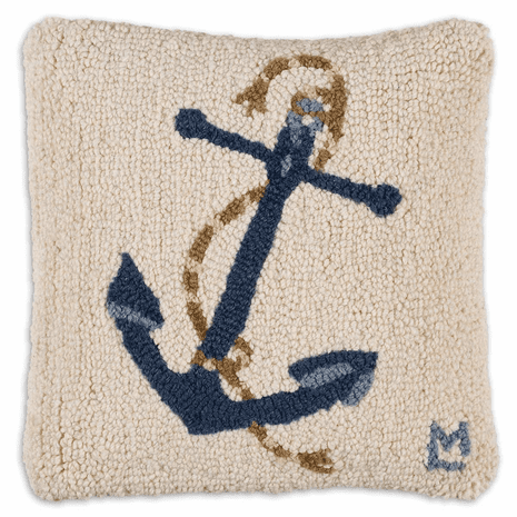 Blue Anchor on White Hooked Wool Pillow
