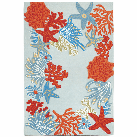 Blue and Coral Stars Indoor/Outdoor Rug - 8 Ft. Round
