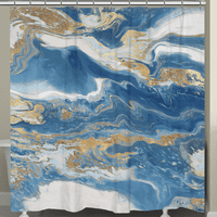 Blue and Gold Serenity Shower Curtain