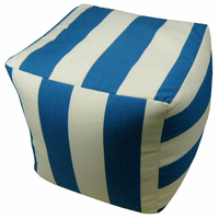 Blue and White Stripes Indoor/Outdoor Square Pouf