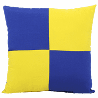 Blue and Yellow Checkered Flag Indoor/Outdoor Pillow