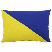Blue and Yellow Diagonal Flag Indoor/Outdoor Pillow - 17 x 12