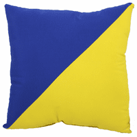 Blue and Yellow Diagonal Flag Indoor/Outdoor Pillow - 17 x 17