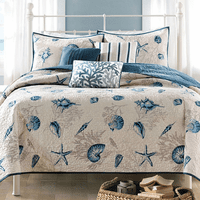 Blue Beach 6 Piece Coverlet Set - King
