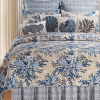 Blue Beach Shells Quilt Bed Set - Full/Queen