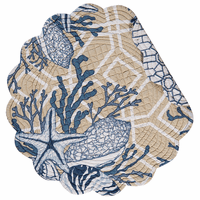 Blue Beach Shells Round Placemats - Set of 6