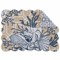 Blue Beach Shells Scalloped Placemats - Set of 6