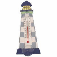 Blue Checkered Lighthouse Small Window Thermometer