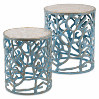 Blue Coral and Mosaic Accent Tables - Set of 2 - OUT OF STOCK - ETA 12/8/2020