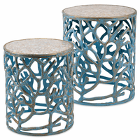 Blue Coral and Mosaic Accent Tables - Set of 2