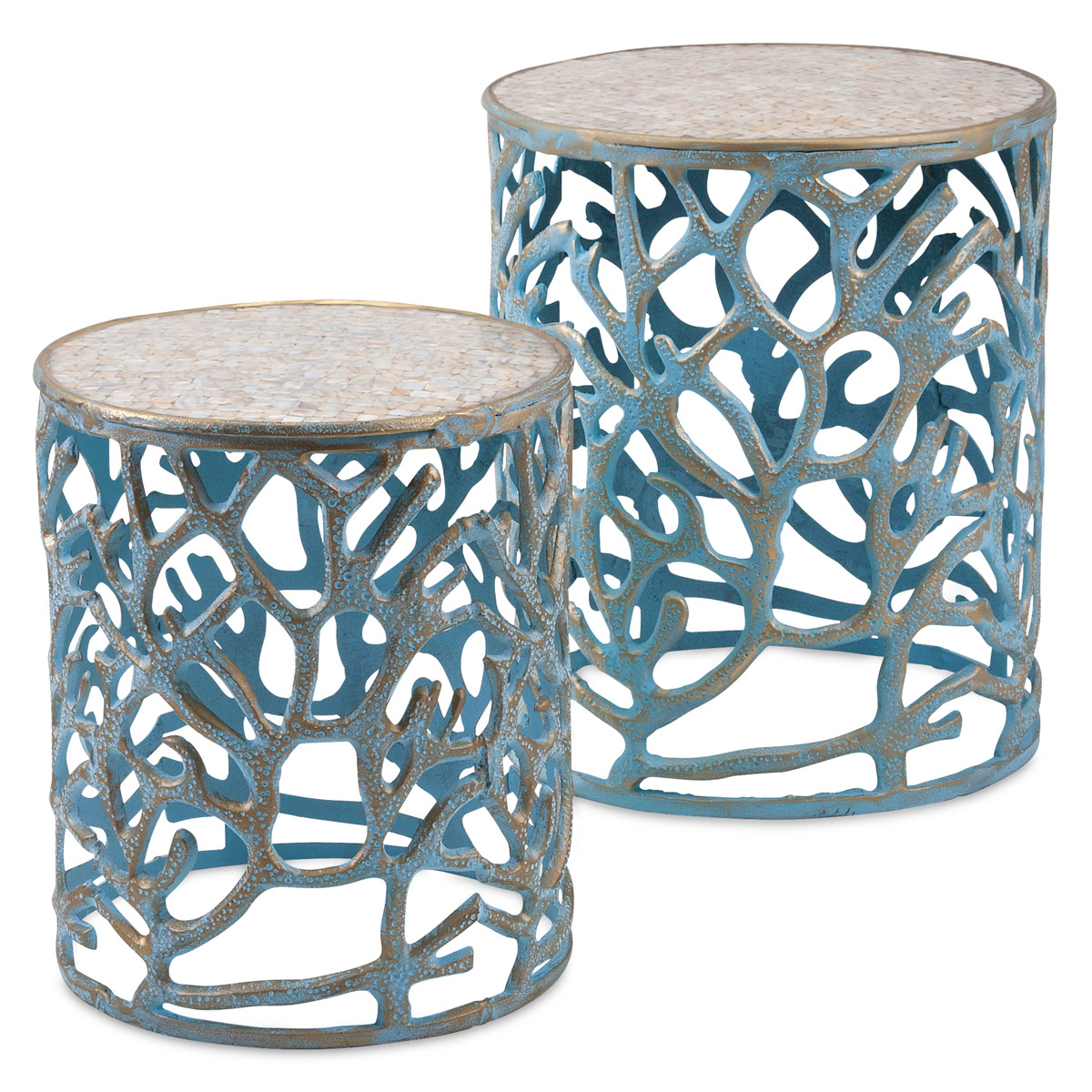 - Nautical Tables: Set Of 2Blue Coral And Mosaic Accent Tables