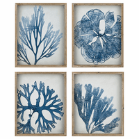 Blue Coral Framed Wall Art - Set of 4